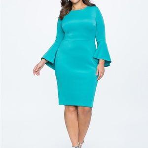 Eloquii Flare Sleeve Scuba Dress Aruba Blue 14